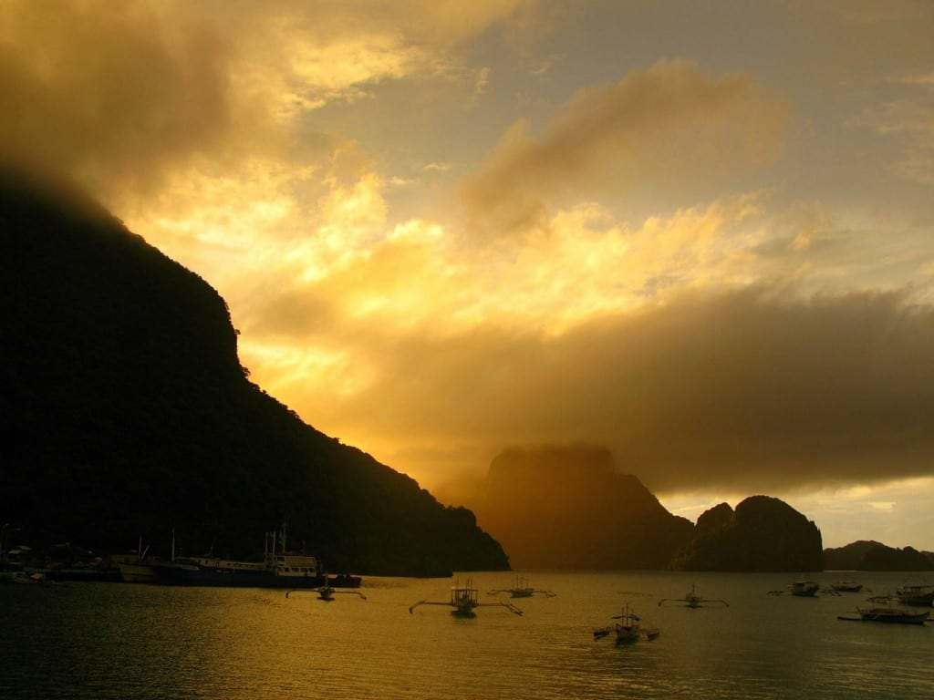 A Golden Sunset in El Nido, Palawan, the Philippines