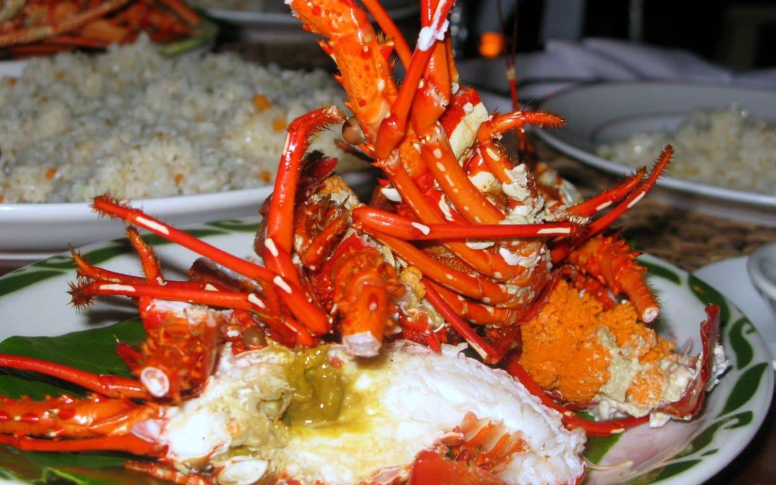 A delicious lobster dinner in El Nido, Palawan