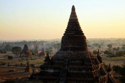 Sunrise over Buledi temple in Bagan, Myanmar (Burma)