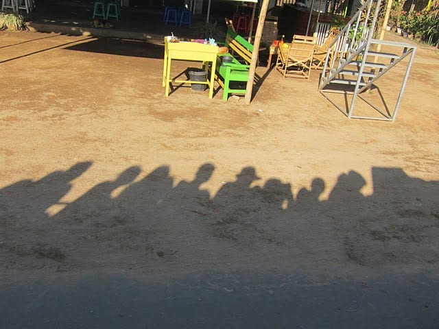 Shadow view of the Golden Rock pickup truck in Burma