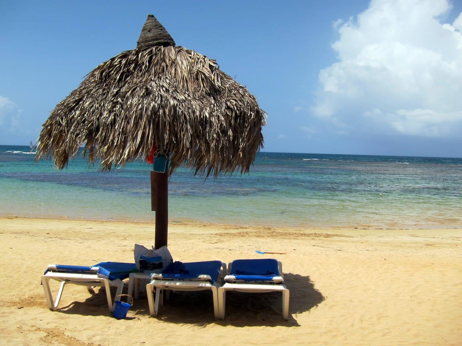 The ideal beach scene on Samana's El Portillo Beach, Dominican Republic.