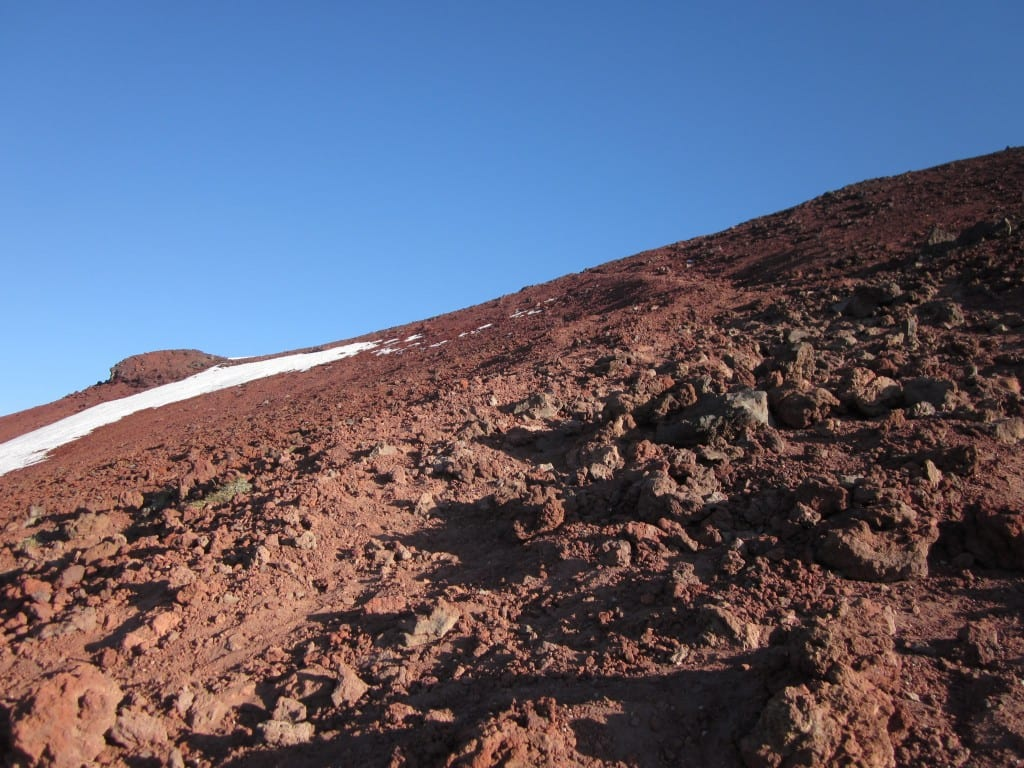 Descent after climbing South Sister