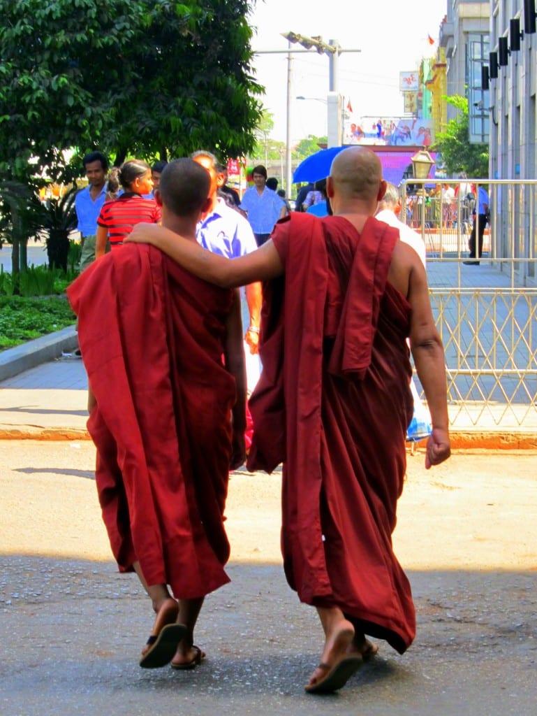 Monks walking in Yangon