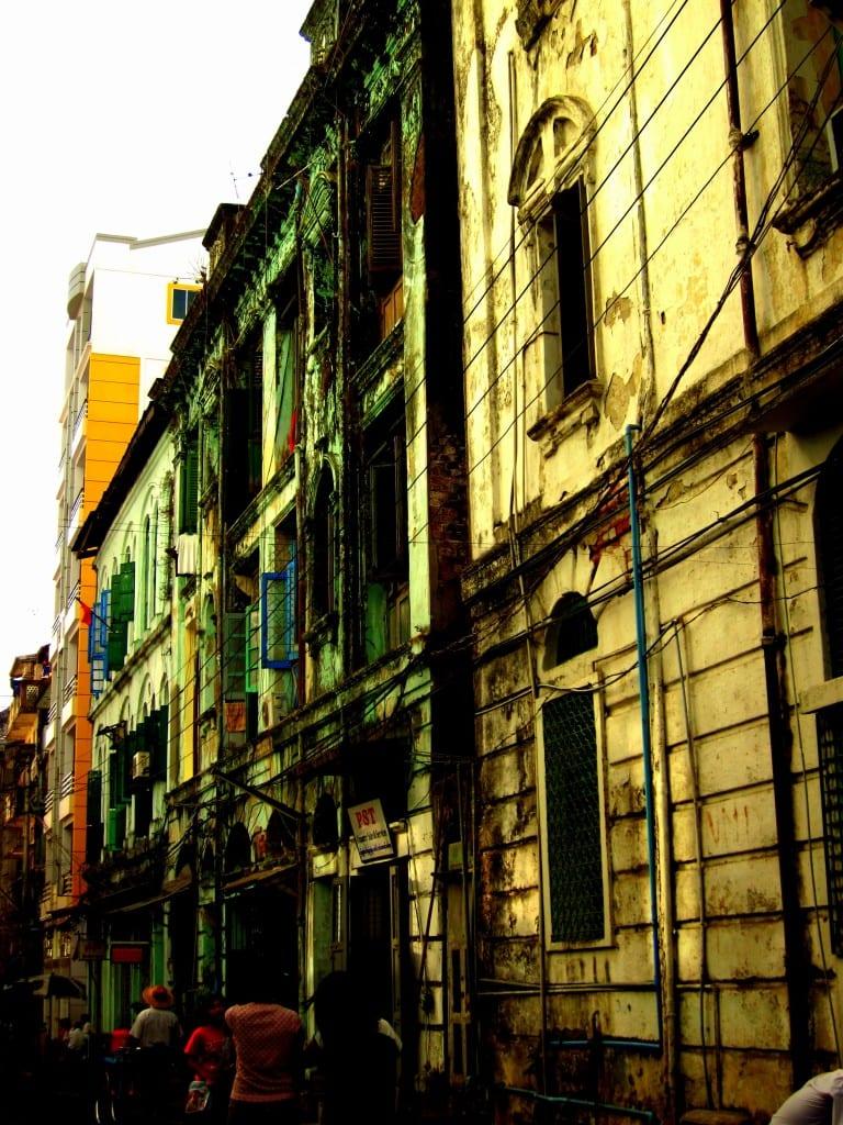 Colorful buildings of Yangon Burma