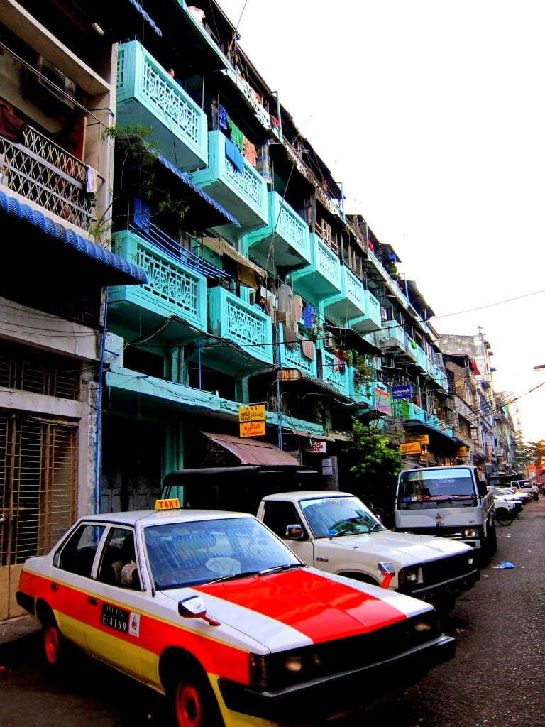 Contrasting colours on the streets of Yangon