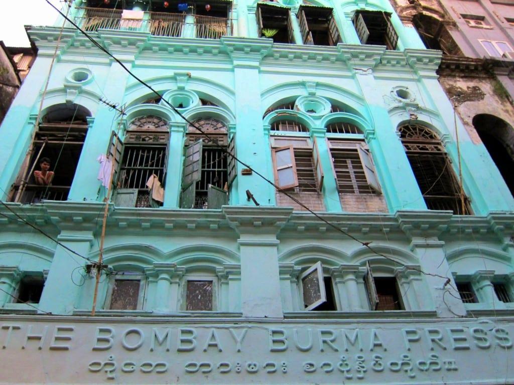 Colourful Bombay Burma Press building in Yangon