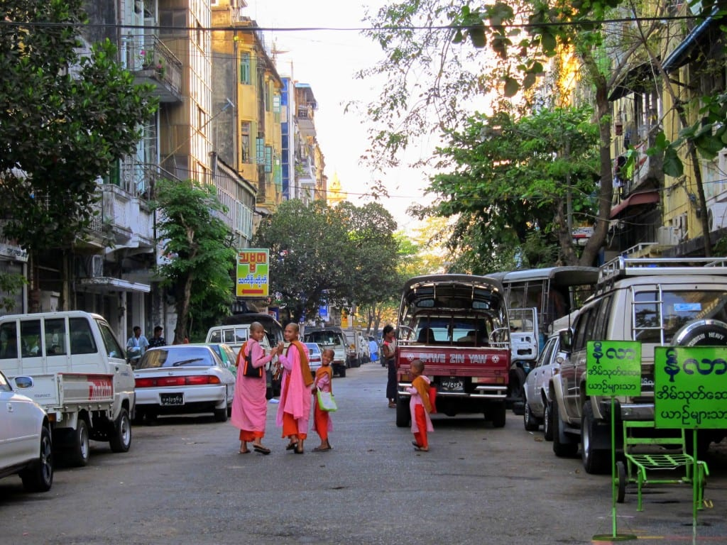 Nuns waving goodbye Yangon