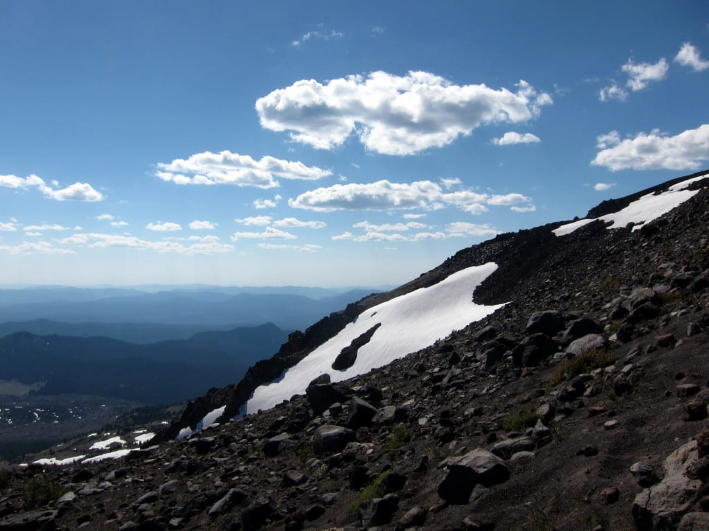 Hitting the first of several snow patches climbing South Sister mountain