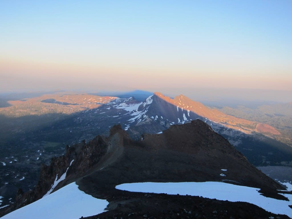 Shadow of South Sister over the beautiful view from the summit.