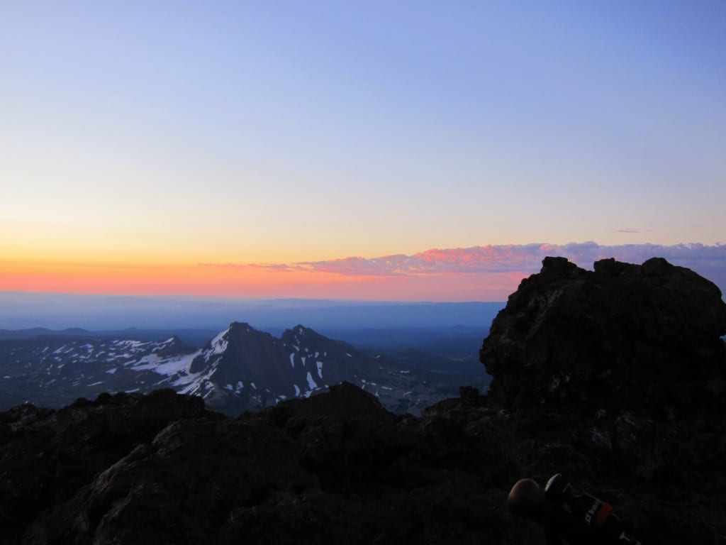 Sunrise at 10,300 feet atop South Sister mountain in Oregon