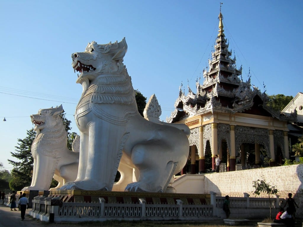 Two giant Chinthes guarding the gates to Mandalay Hill