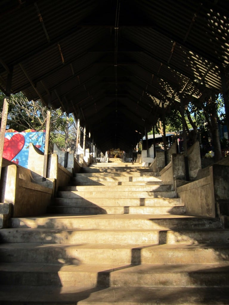The stairway up to the top of Mandalay Hill in Myanmar