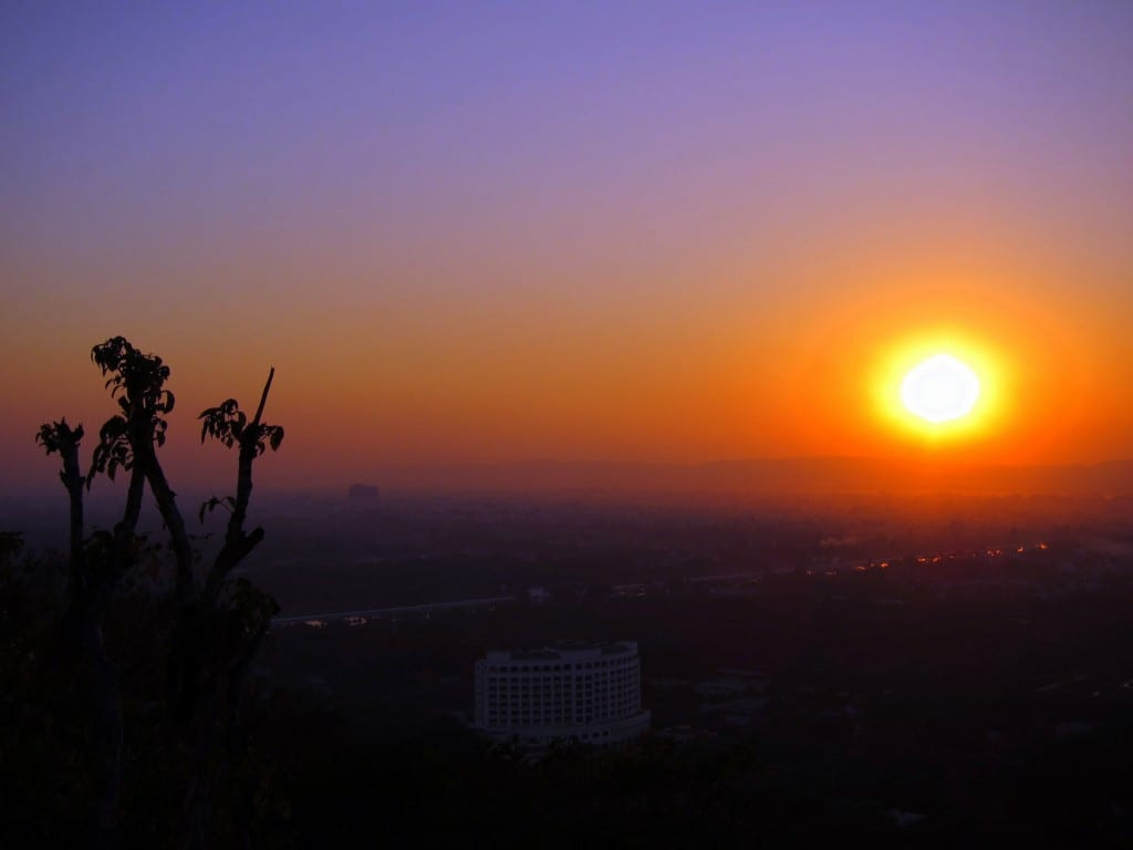Sunset from atop Mandalay Hill in Burma (Myanmar)