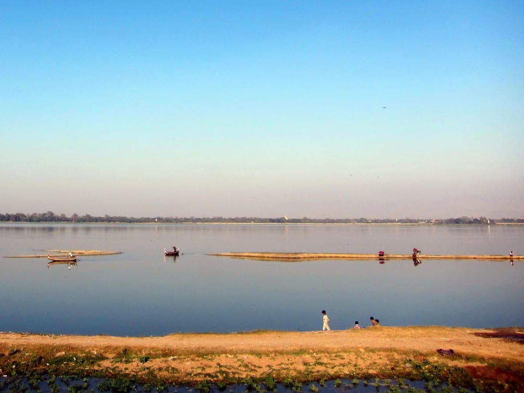 Looking over the river from Mandalay's U Bein Bridge