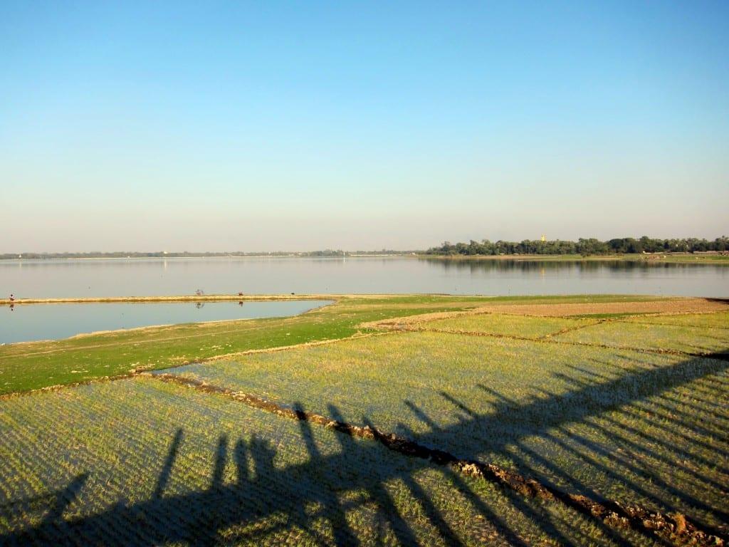 Shadow of U Bein bridge outside of Mandalay