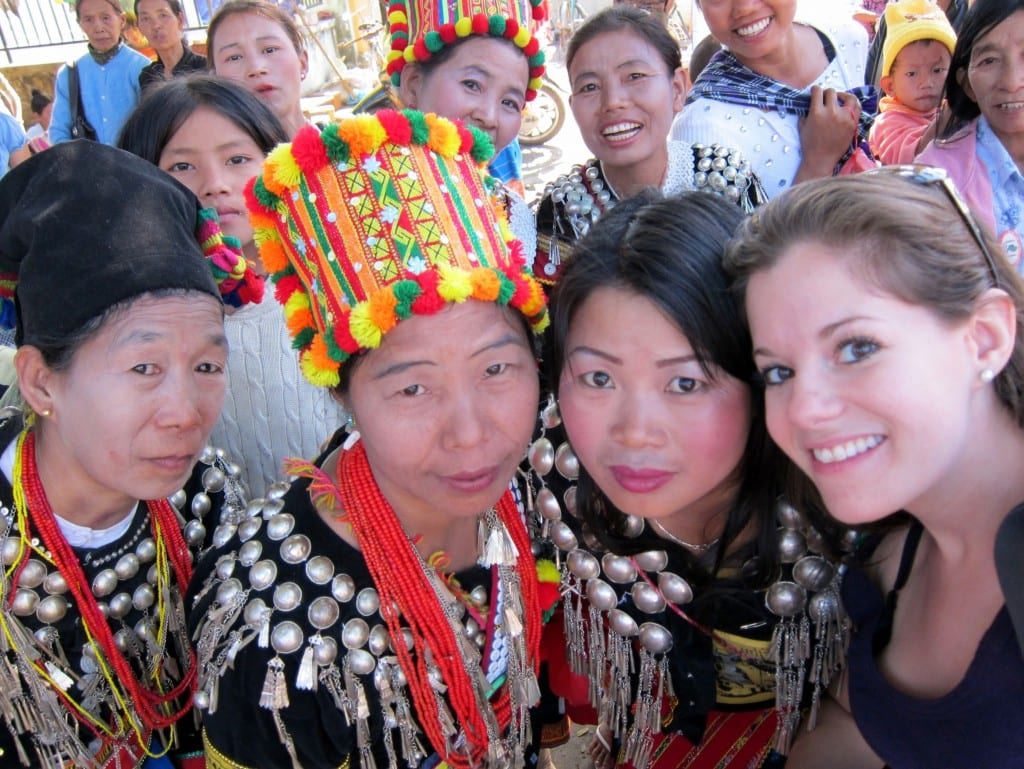 Me and Kachin tribeswomen at the Kachin State Fair