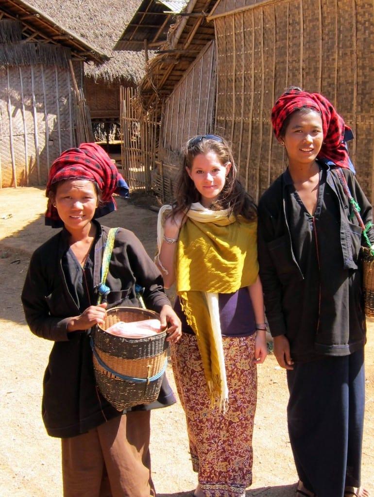 Me in my longyi with Pa-O tribeswomen at Inle Lake