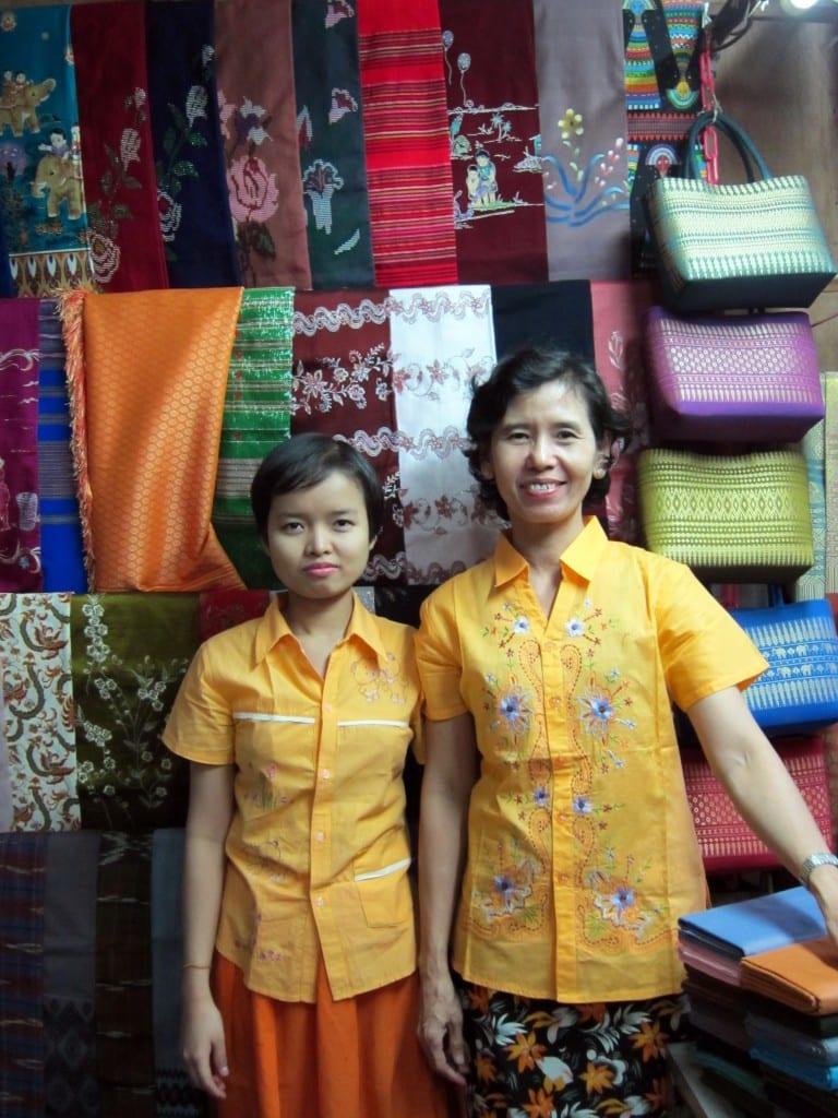 Buying a longyi in Yangon