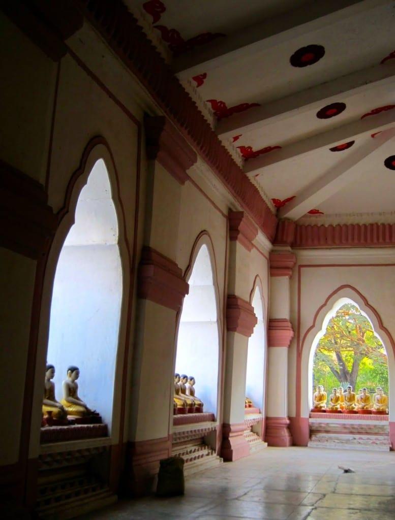 Arched hallways inside Kyauktawgyi Paya near U Bein Bridge