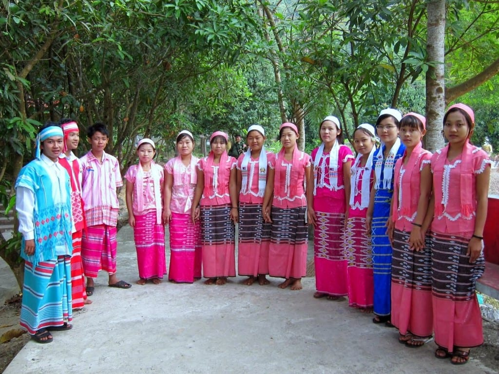 Kayin in traditional dress at the bottom of Mt. Zwegabin