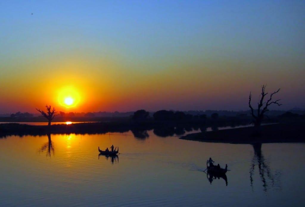 Sunset at U Bein Bridge in Myanmar