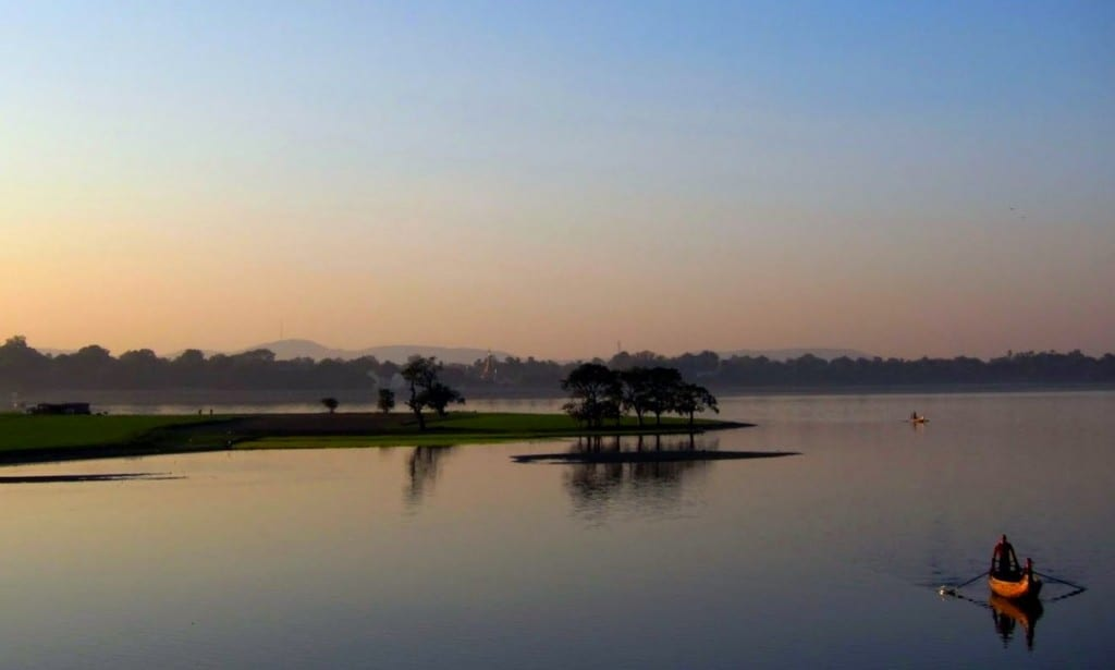 First glimpses of sunset from Mandalay's U Bein bridge