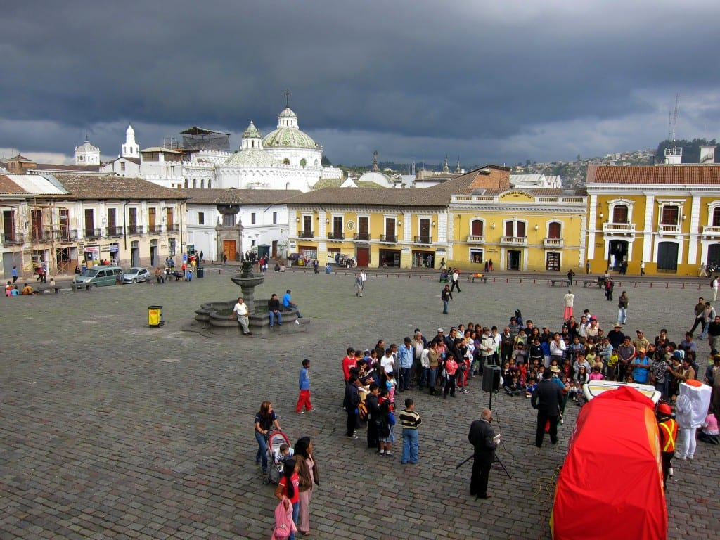 Plaza San Francisco and the incoming storm in Quito