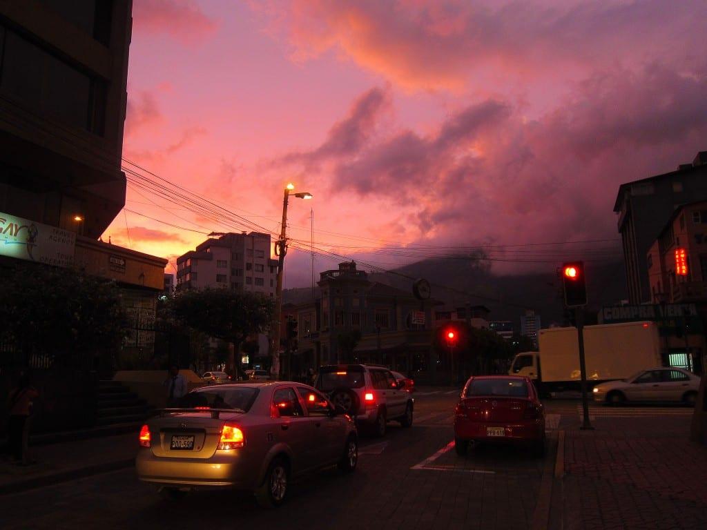 Sunset over Amazonas Ave - Quito