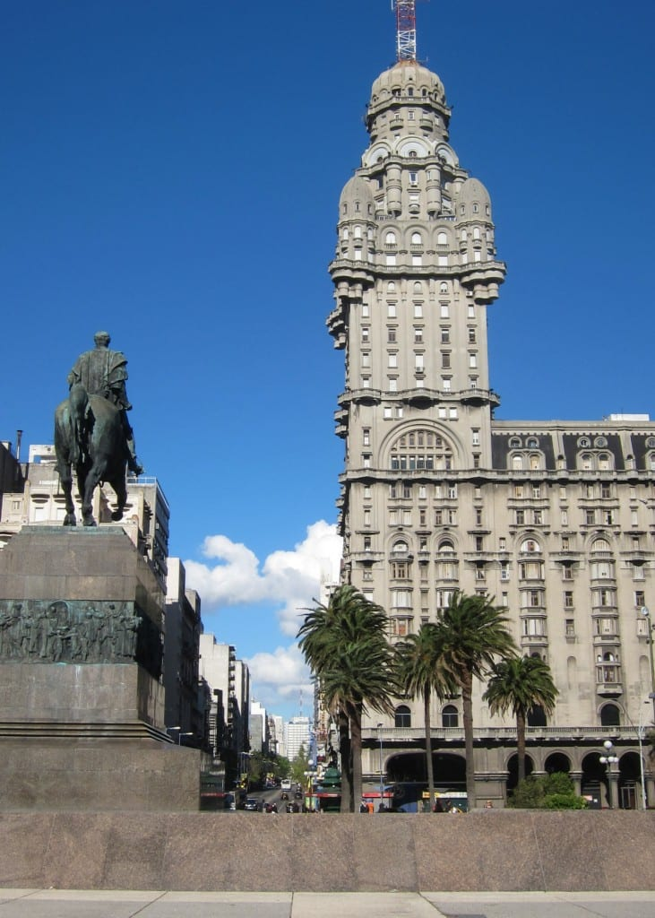 Plaza Independencia in the sun, montevideo uruguay