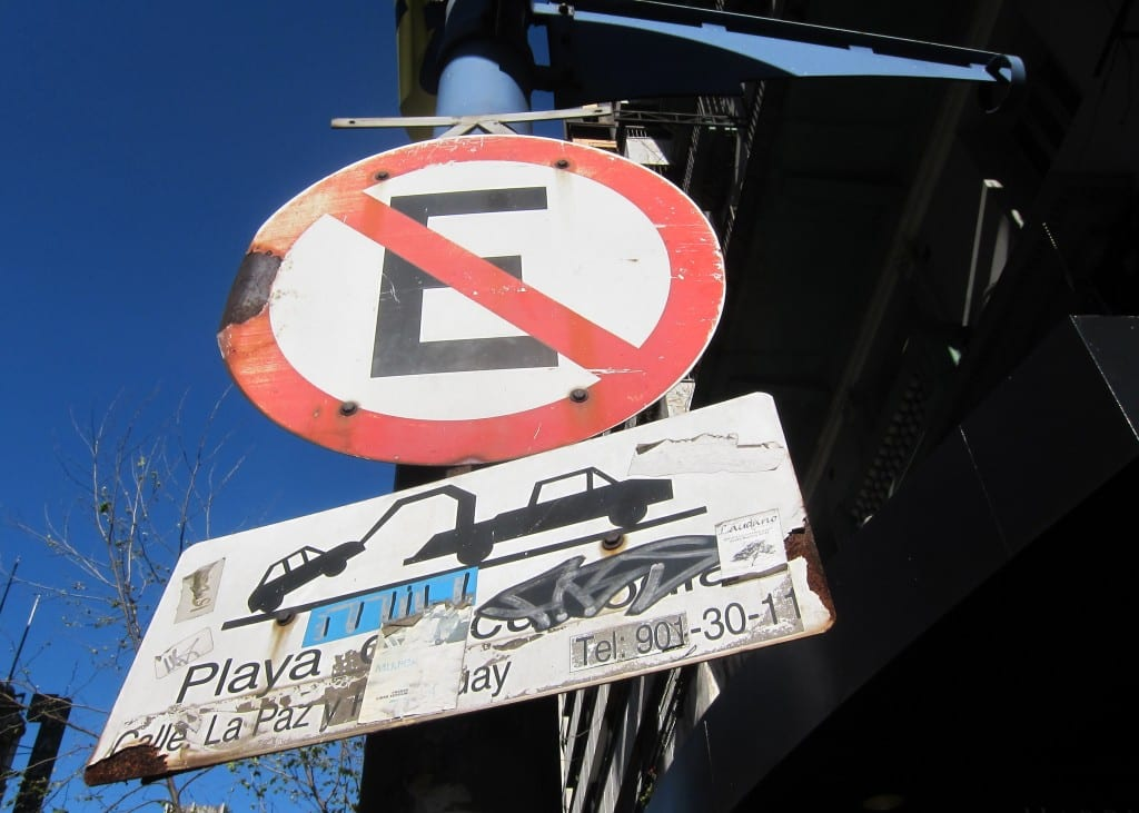 Graffitied Traffic Sign in Montevideo Uruguay