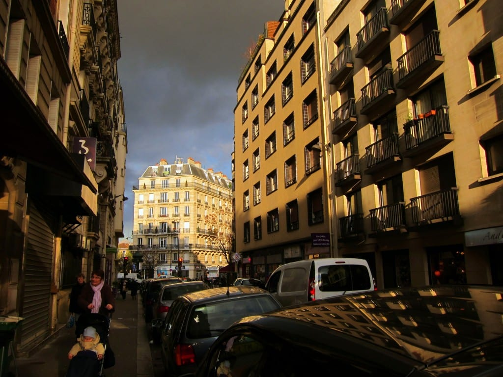 Paris' Falguiere street in the late afternoon sun, montmartre