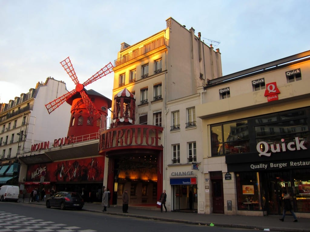 Famous Moulin Rouge, in Montmartre.