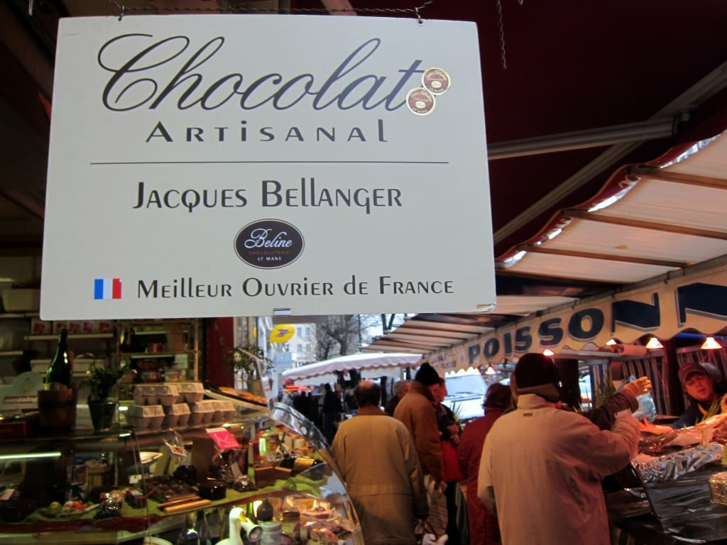 Chocolate and fish, friends at last in Paris' Convention market.