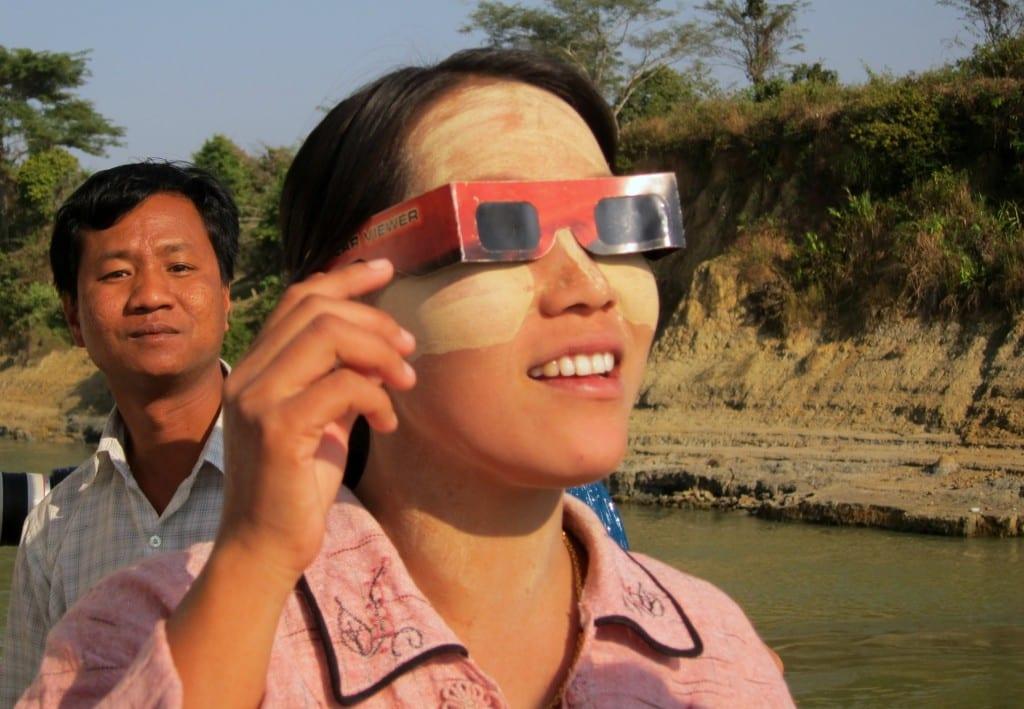 Solar eclipse over the Ayeyarwaddy in Burma
