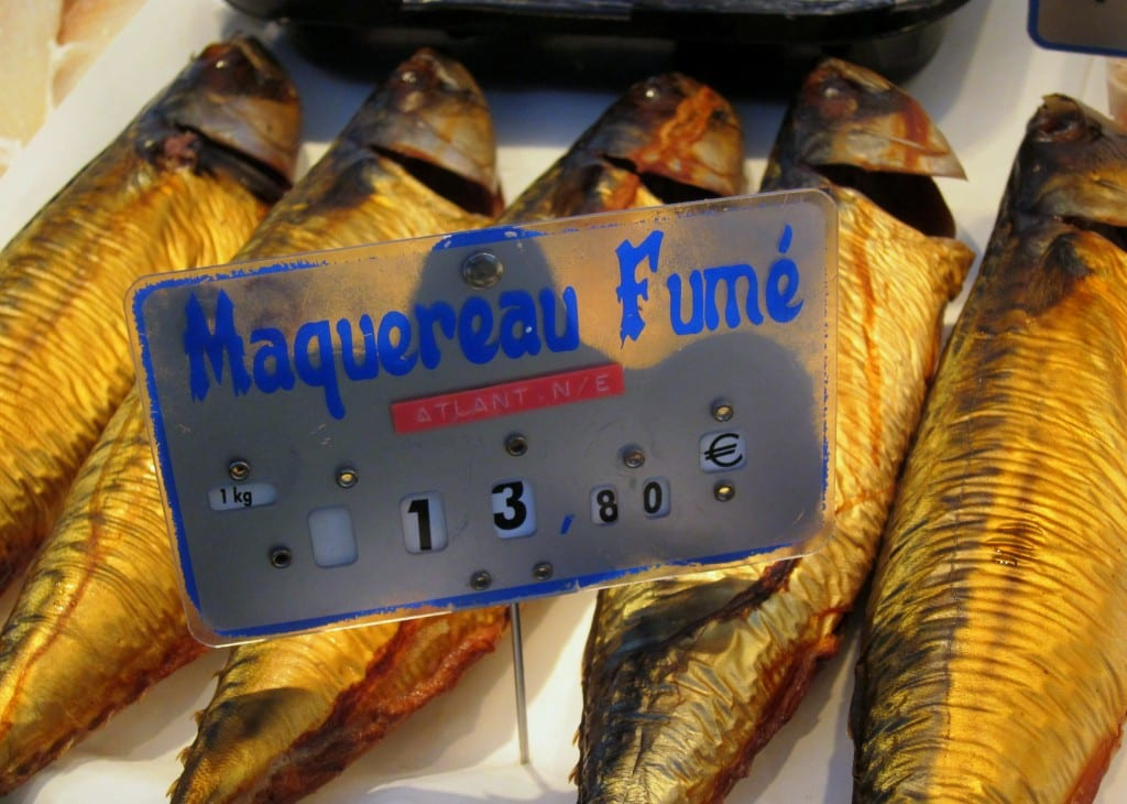Smoked mackerel at the Convention Market, Paris