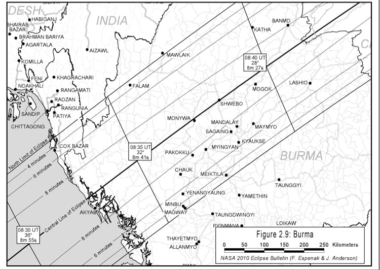 Map of the Jan 15 Eclipse over Burma