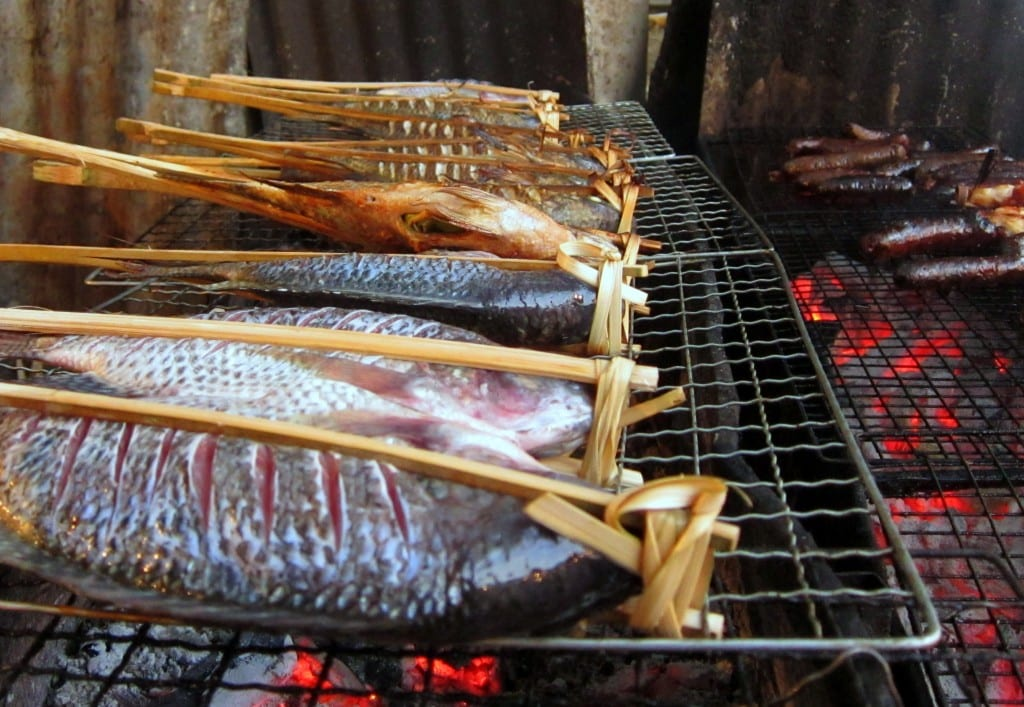 Fish at Luang Prabang's night market in Laos
