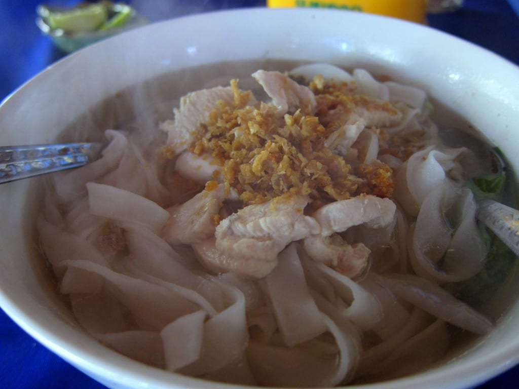 Close up pork noodle soup