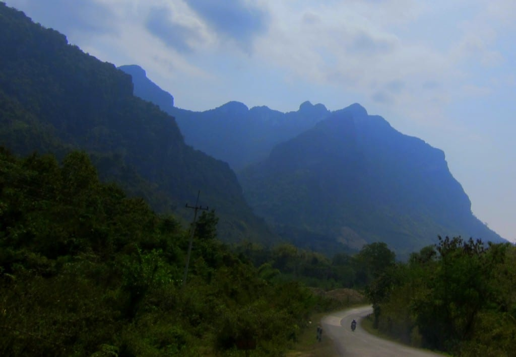 The winding road from Luang Prabang on a bus ride in Laos