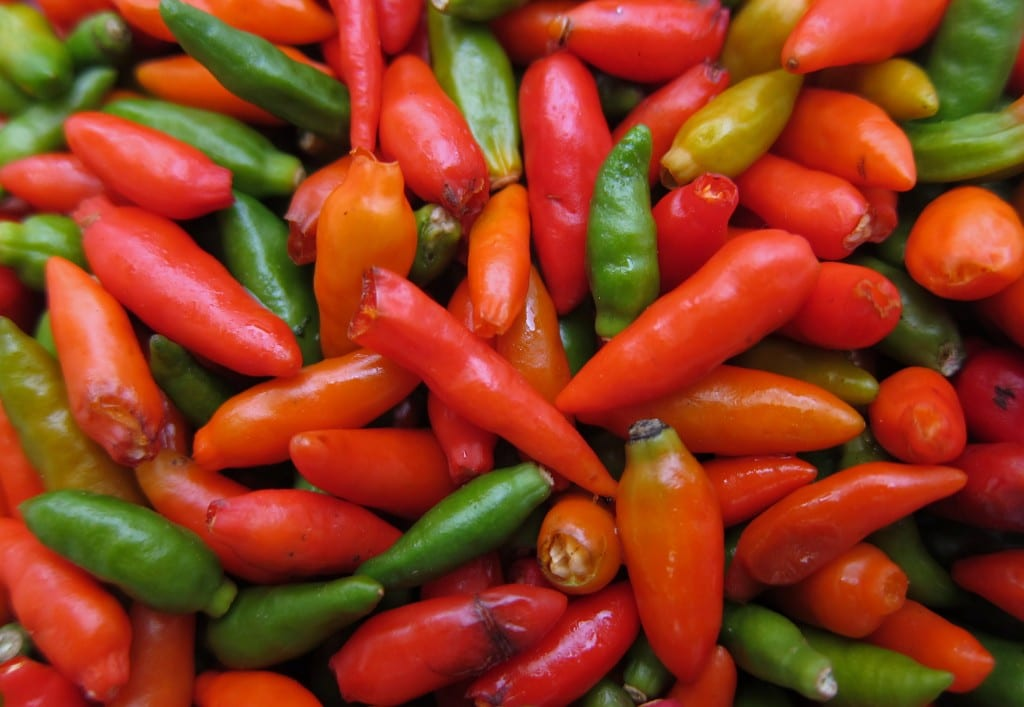 Laos food: Roasted peppers