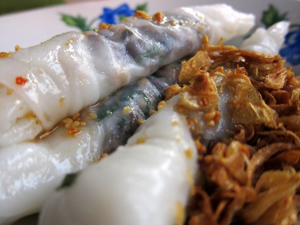 Pork-filled fresh rice springrolls from Laos
