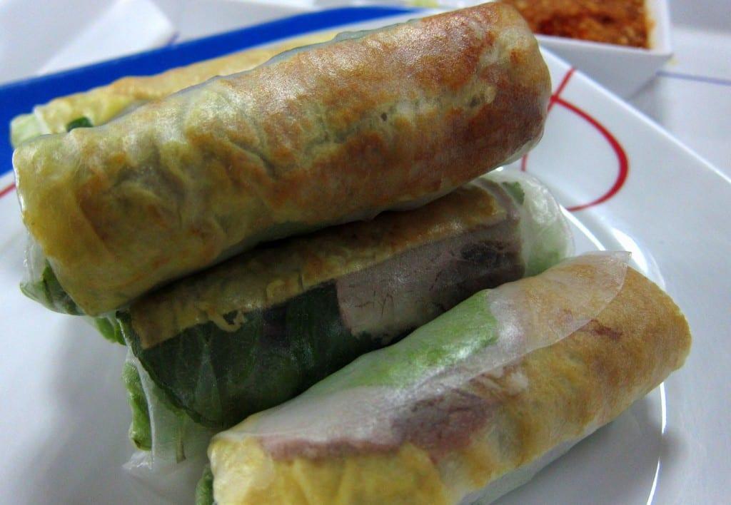 fresh spring rolls in laos