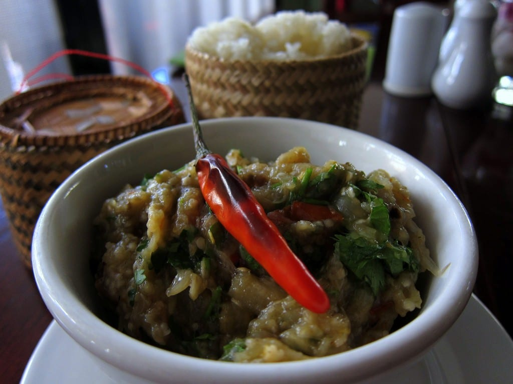Roasted eggplant, chili and sticky rice from Makphet restaurant in Vientiane