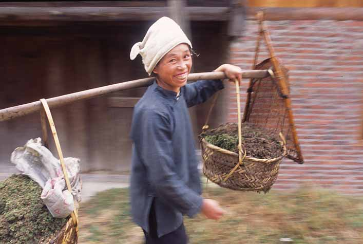 Woman carrying fresh produce in Guizhou