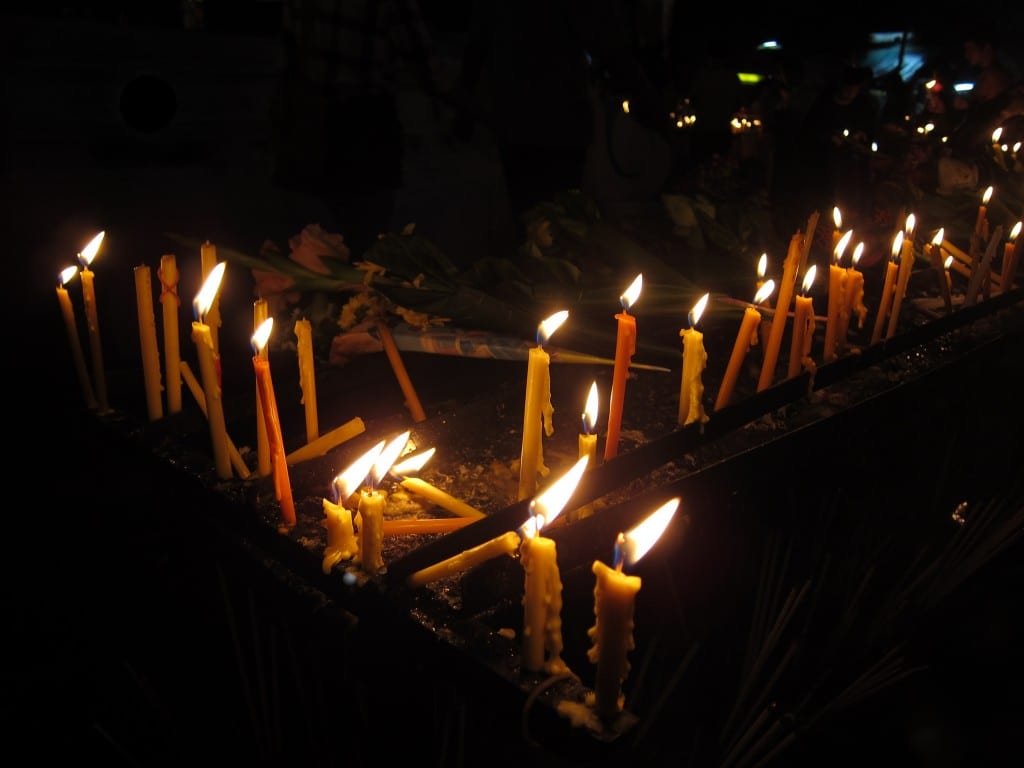 Candles at Wat Phra Singh for Makha Bucha Day