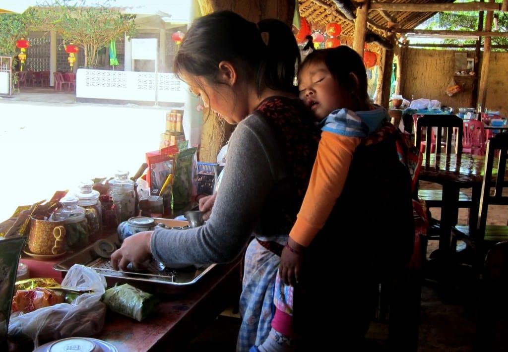 Making tea in Mae Aw (Ban Rak Tai)