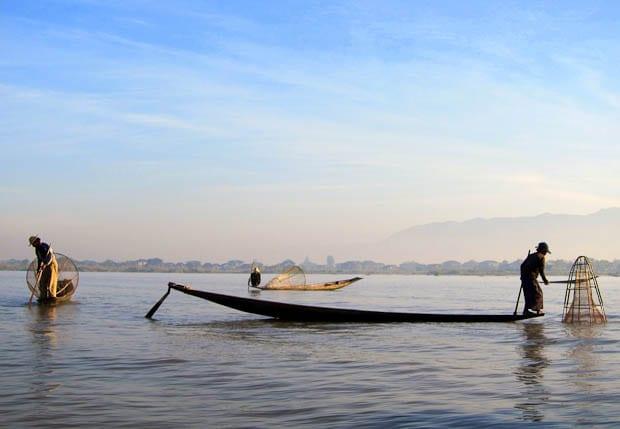 Fishermen on Inle Lake at Dawn