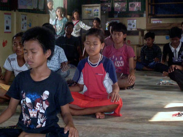Kelly Newsome meditation class in Cambodia