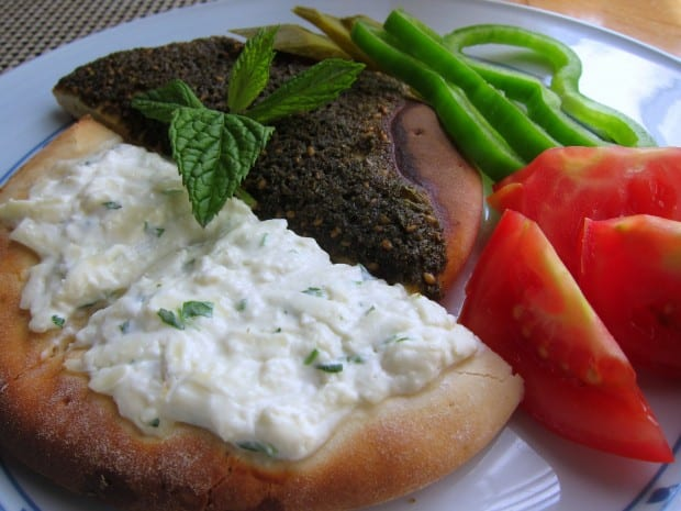 Breakfast in Amman - manakeesh and fresh vegetables