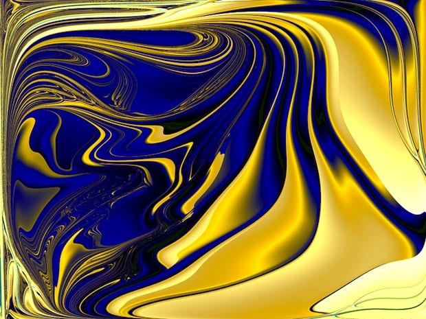 Fractal Art in Shades of Blue and Saffron